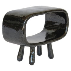 Shimmery Black Rectangular Void, Ceramic Sculpture on 4 Legs With Brown Speckles