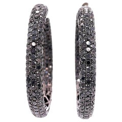 Shimon's Creations / 18K Black Gold / Pave Diamond / Hoop Earrings with 14.02ct