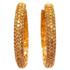 Shimon's Creations / 18K Yellow Gold / Pave Diamond / Hoop Earrings with 12.52ct