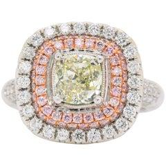 Shimon's Creations Cushion Diamond Double Halo Engagement Ring