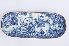 Hand painted blue and white Japanese Arita porcelain decorative plate, Thailand