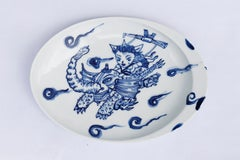 Hand painted blue and white Japanese Arita porcelain, Flying Chazilla no. 2