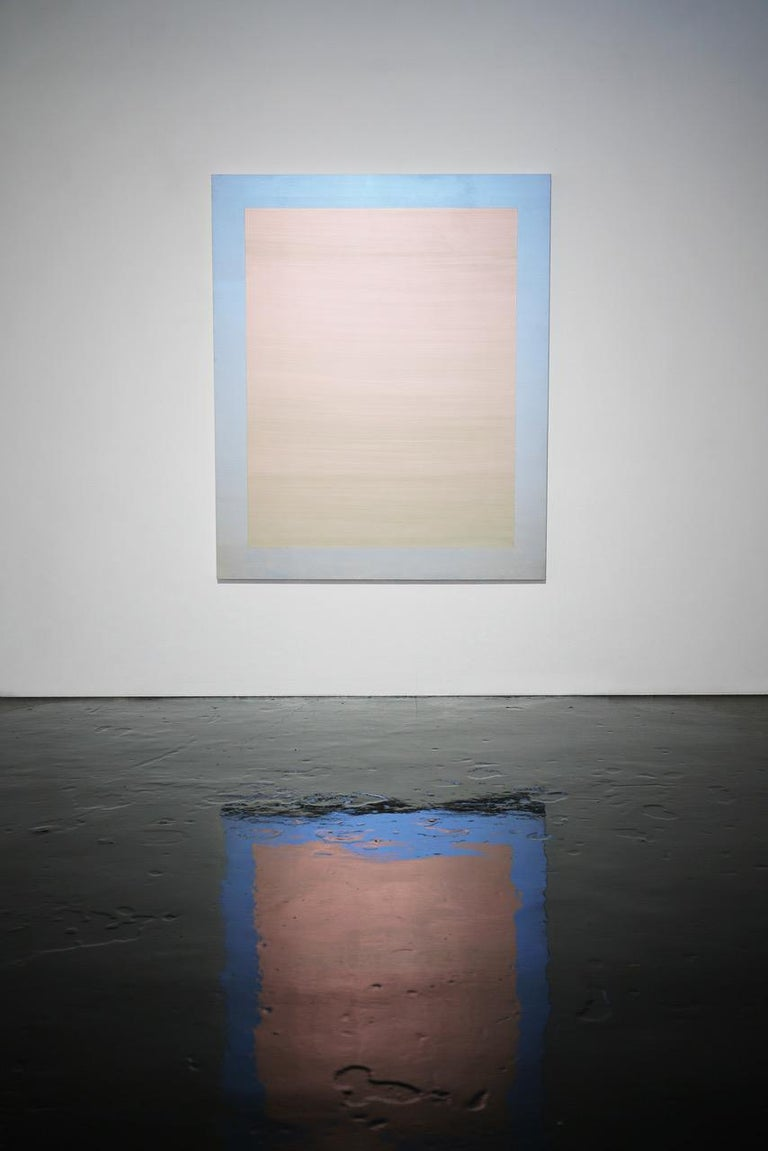 Mirroring Light (cerulean-scarlet) - Painting by Shingo Francis