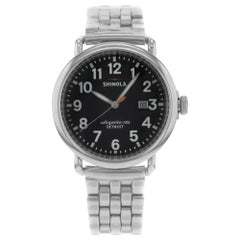 Shinola Runwell Black Dial Date Stainless Steel Quartz Men's Watch 10000053