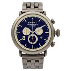 Shinola Runwell Blue Dial Chronograph Steel PVD Quartz Men's Watch 10000075
