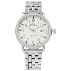 Shinola Runwell Stainless Steel White Arabic Dial Quartz Men's Watch 10000054