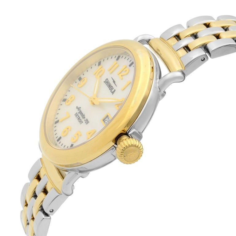 Shinola Runwell Two-Tone Mother of Pearl Dial Quartz Ladies Watch 10000237 In Good Condition For Sale In New York, NY