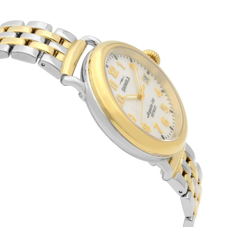 Women's Shinola Runwell Two-Tone Mother of Pearl Dial Quartz Ladies Watch 10000237 For Sale