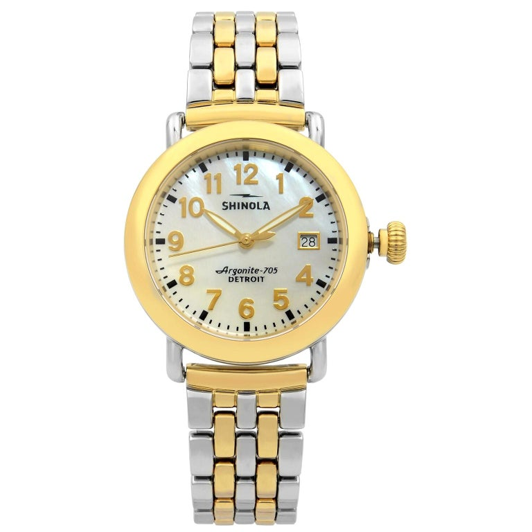 Shinola Runwell Two-Tone Mother of Pearl Dial Quartz Ladies Watch 10000237 For Sale