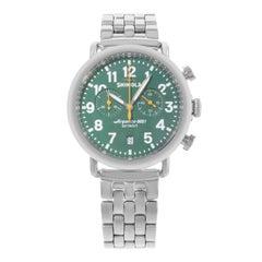 Shinola The Runwell S0110000063 Chrono Green Dial Steel Quartz Men's Watch