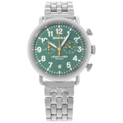 Shinola The Runwell Steel Chronograph Green Dial Quartz Men's Watch 10000063