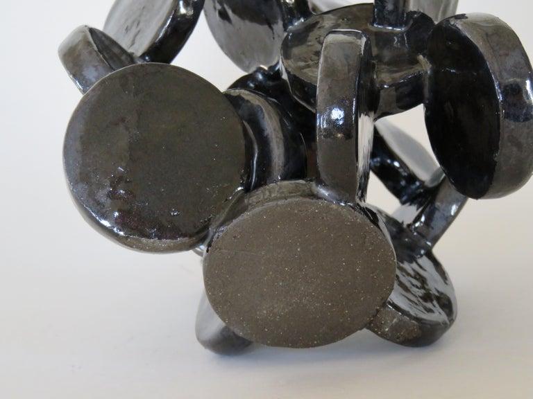 Shiny Black Discs, Handbuilt Abstract Ceramic Sculpture 5