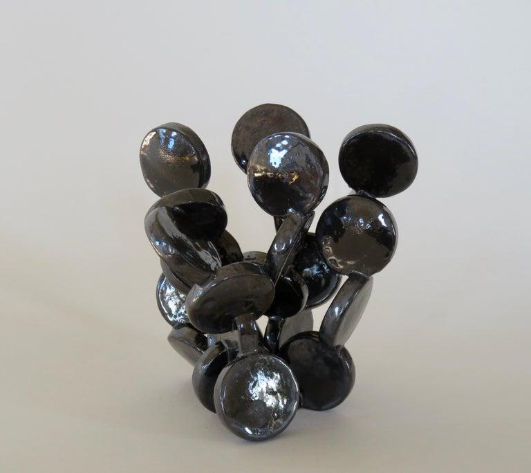 American Shiny Black Discs, Handbuilt Abstract Ceramic Sculpture