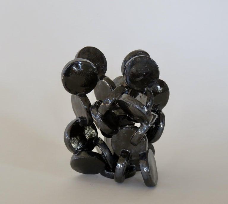 Glazed Shiny Black Discs, Handbuilt Abstract Ceramic Sculpture