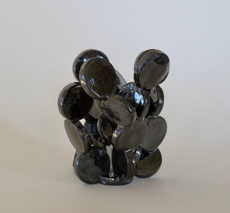 Shiny Black Discs, Handbuilt Abstract Ceramic Sculpture 1