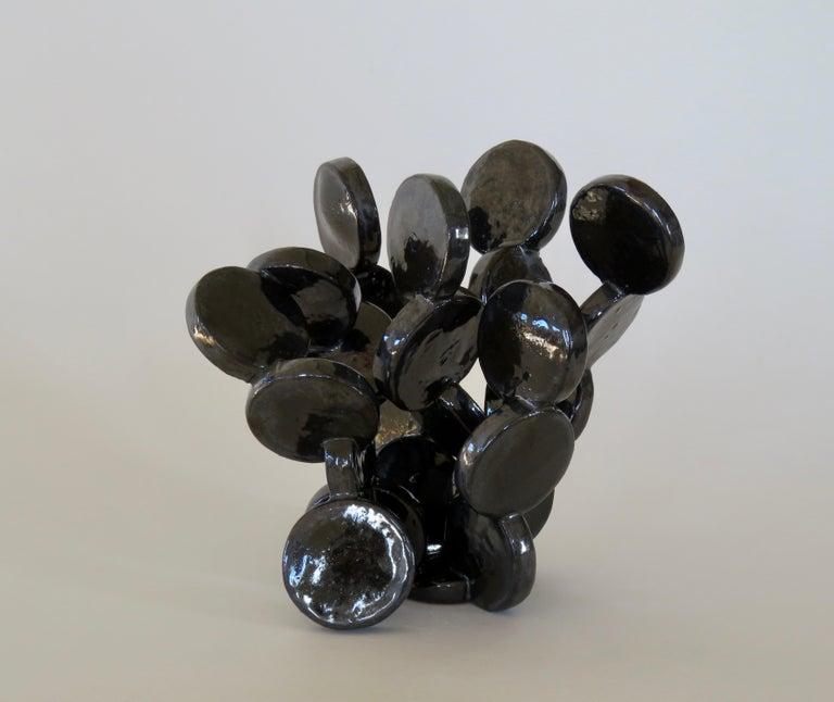 Shiny Black Discs, Handbuilt Abstract Ceramic Sculpture 2