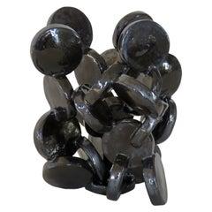 Shiny Black Discs, Handbuilt Abstract Ceramic Sculpture