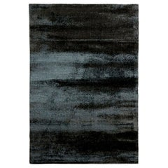 Shiny Black Viscose Contemporary Rug by Deanna Comelllini 200x300 cm