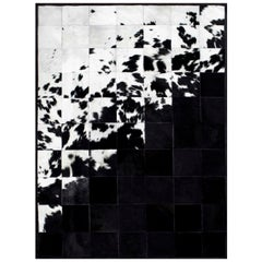 Shiny Black with Rich Creamy White Cuztomizable Degrade Cowhide Area Rug X-Large