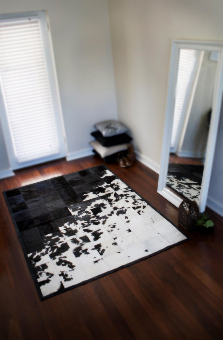 Art Deco Shiny Black with Rich Creamy White Cuztomizable Degrade Cowhide Area Rug Large For Sale