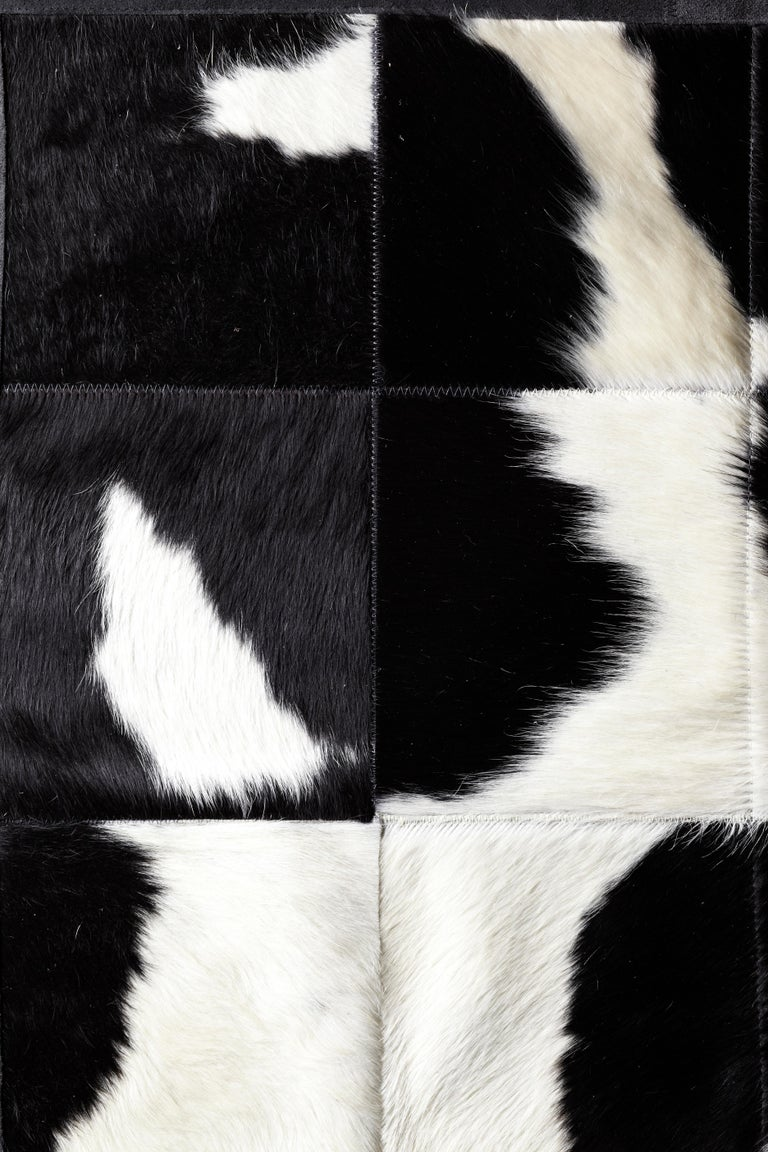 Argentine Shiny Black with Rich Creamy White Cuztomizable Degrade Cowhide Area Rug Large For Sale