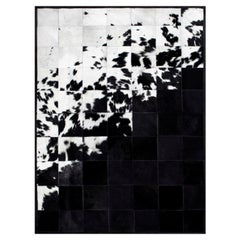 Shiny Black with Rich Creamy White Cuztomizable Degrade Cowhide Area Rug Large