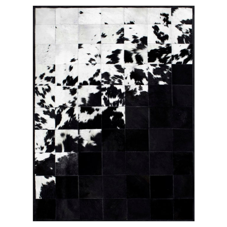 Shiny Black with Rich Creamy White Cuztomizable Degrade Cowhide Area Rug Large For Sale