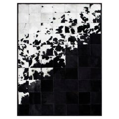 Shiny Black with Rich Creamy White customizable Degrade Cowhide Area Rug Small