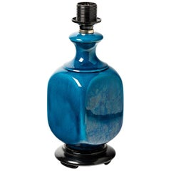 Shiny Blue Ceramic Table Lamp Attributed to Pol Chambost, circa 1960