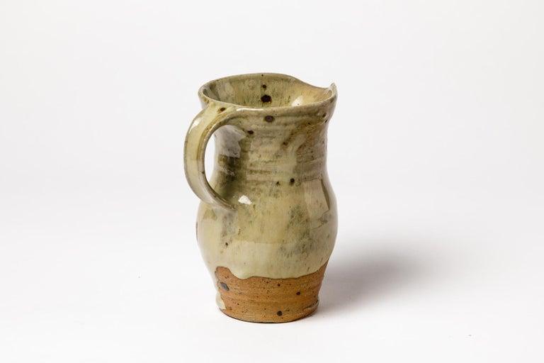 Mid-Century Modern Shiny Brown Ceramic Pitcher La Borne 1970 French Handmade For Sale