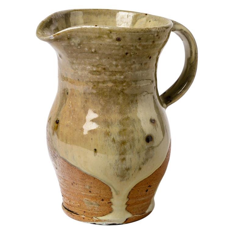 Shiny Brown Ceramic Pitcher La Borne 1970 French Handmade For Sale