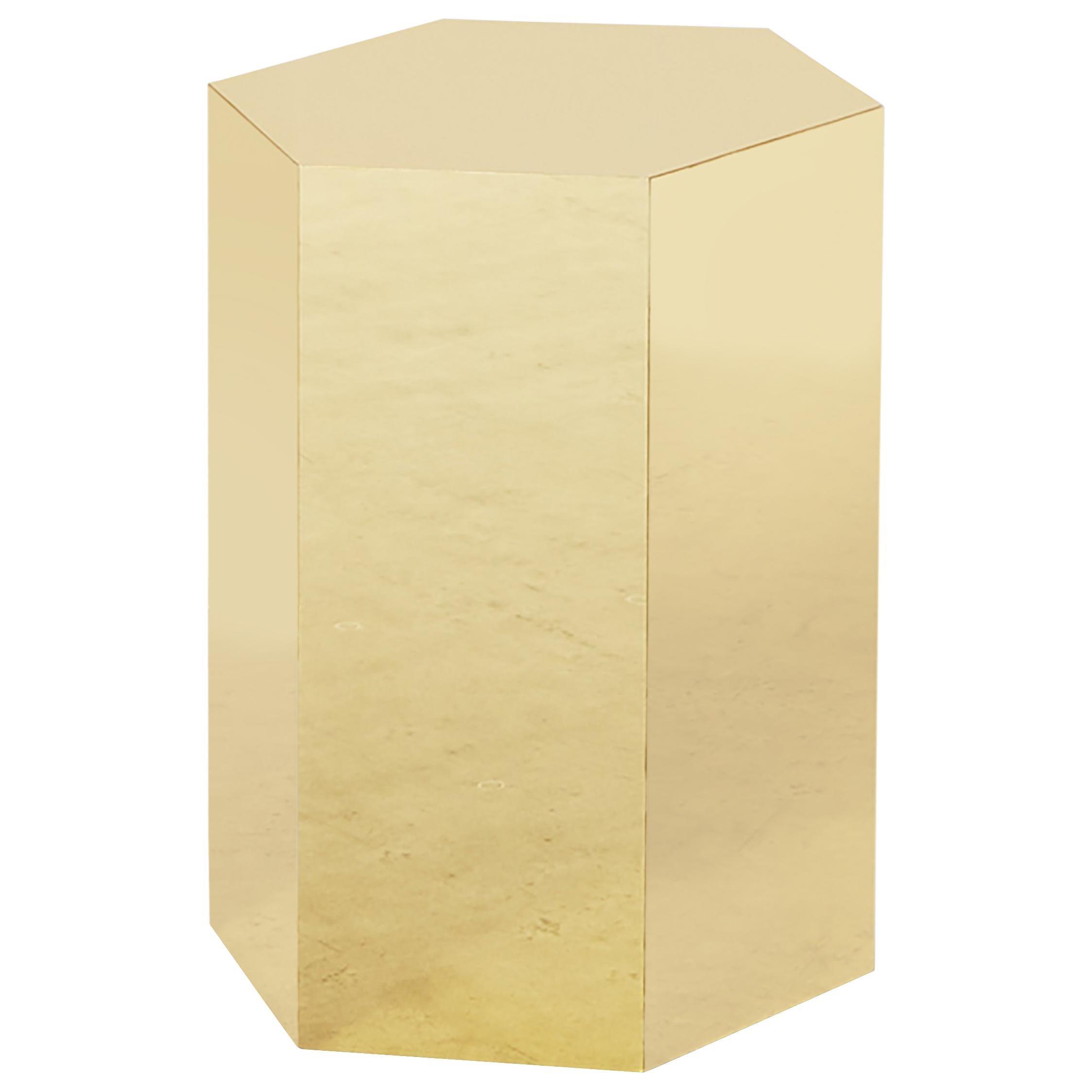 Shiny Hex Brass Finish Side Table by Slash Objects