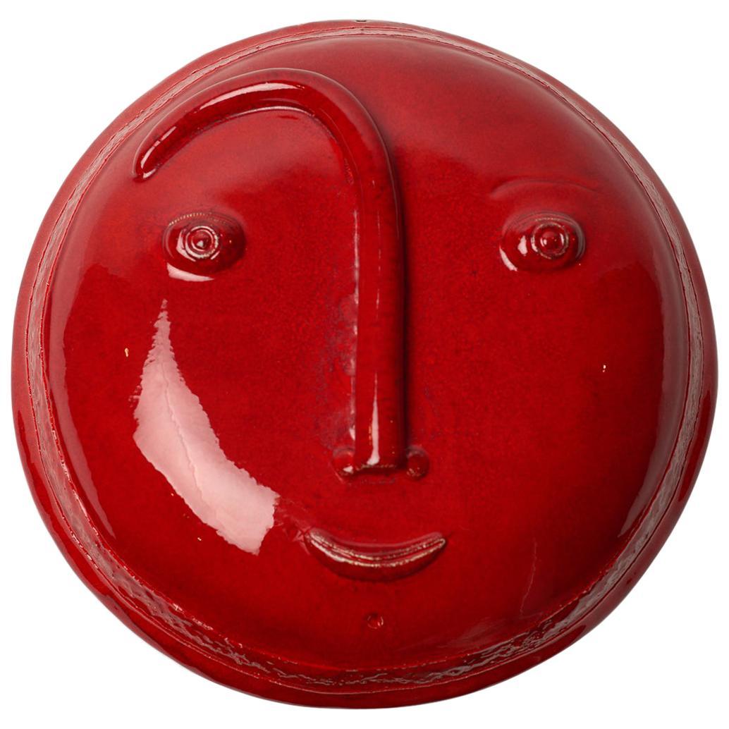 Shiny Red Ceramic Decorative Mask Signed by Dalo