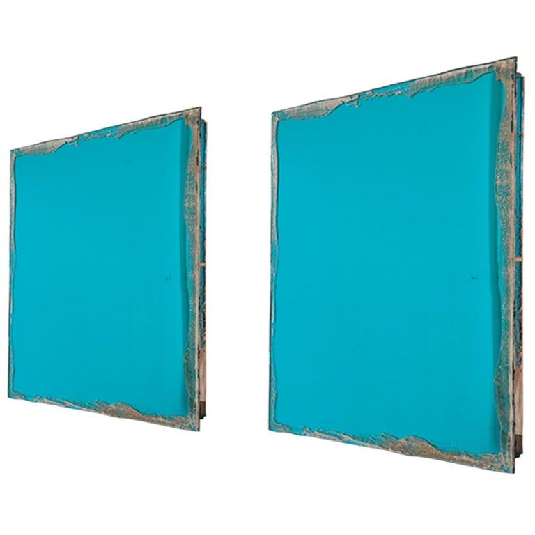 Shiny Water Acqua Marina Mirror Silvered Glass Sabrina Landini For Sale 9
