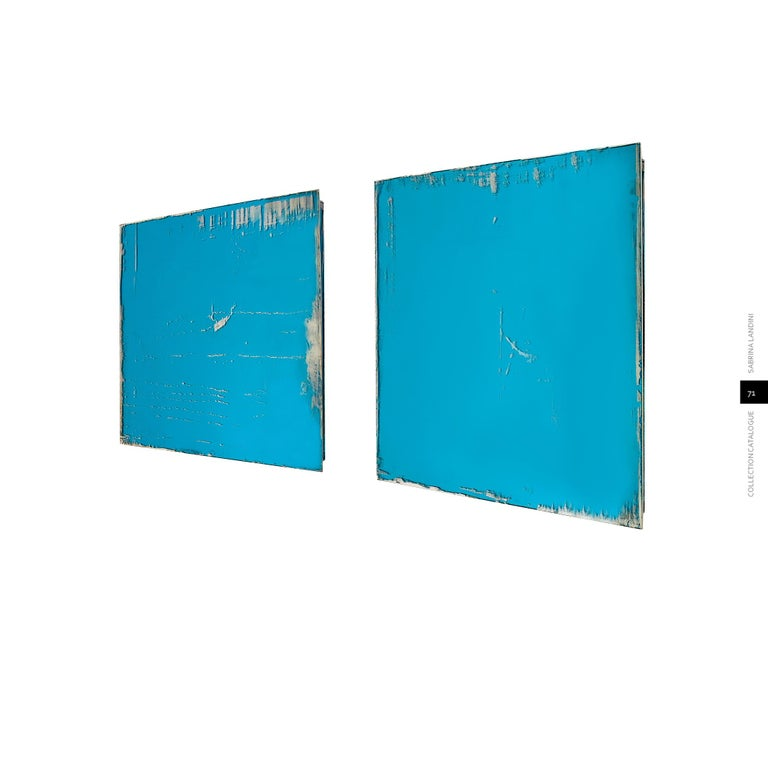 This wall mirror is entirely handmade in Tuscany, Italy, in Sabrina Landini's atelier. A pair 70 x 70cm is now available The glass is original of 1970, the slabs are available in color sage and aquamarine. After the tailor-made cut, according to