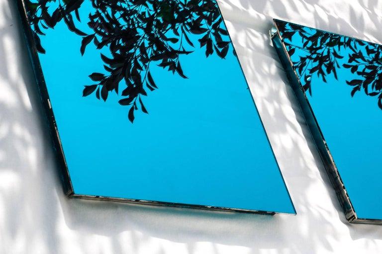Modern Shiny Water Acqua Marina Mirror Silvered Glass Sabrina Landini For Sale