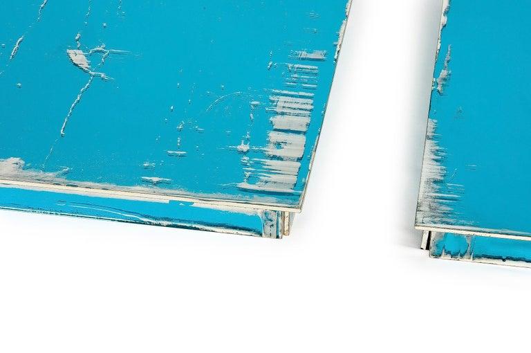 Art Glass Shiny Water Acqua Marina Mirror Silvered Glass Sabrina Landini For Sale
