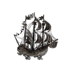 Ship Ahoy, Antique Sterling Silver 3-Mast Galleon Nef