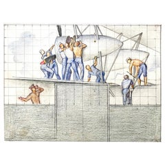 """Ship Building,"" 1930s Era WPA Mural Study with Sailors by Allyn COX"