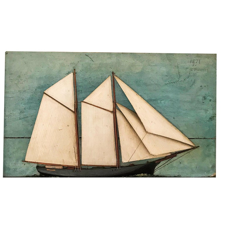 North American Ship Diorama of a Schooner For Sale