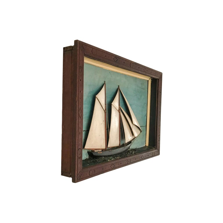 Ship Diorama of a Schooner For Sale