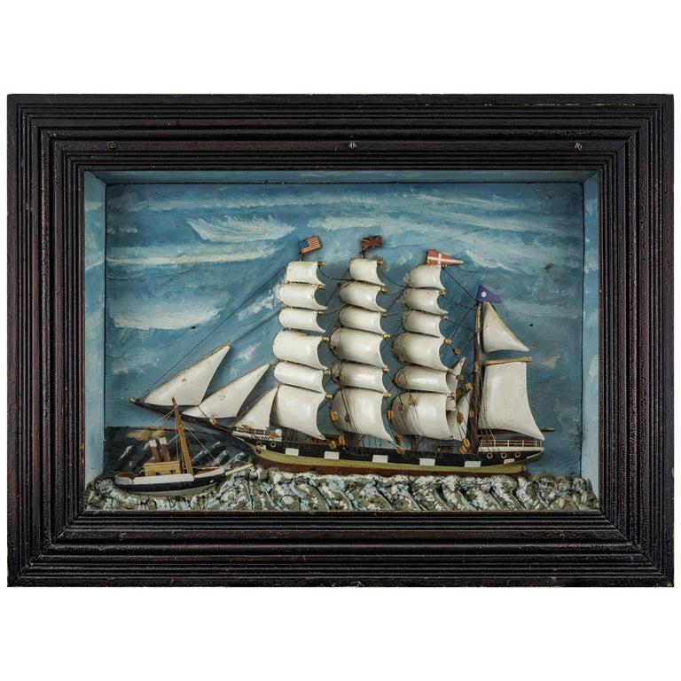 Ship Diorama of a Vessel in Rocky Seas For Sale