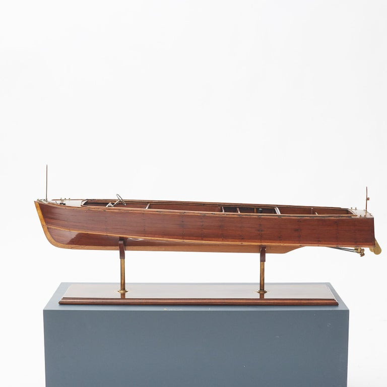 45' Vosper motor boat ship model. Constructed by shipwrights attached to the M.T.E. Chatham (Royal Navy Mechanical Training Establishment MTE). Metal fittings and dummy engines made by Artificer apprentices.  Presented to R.N. College, Dartmouth
