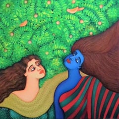 """Desire, Oil & Acrylic on Canvas, Red, Blue, Brown by Indian Artist """"In Stock"""""""