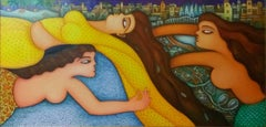 Free Fall, Women in Sari Over A Cityscape, Acrylic Oil on canvas, Indian Artist