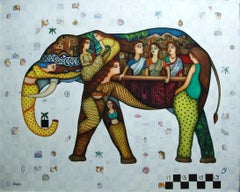"Gaj Yatra, Oil & Acrylic on Canvas, Green, Brown, Red by Indian Artist""In Stock"""