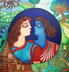 Garden of bond, sisters or friends bonding,red yellow green colour,Indian Artist
