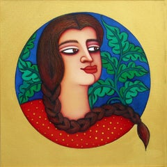 """Girl in Plaits , Acrylic on Canvas, Yellow Green, Red, Blue colours """"In Stock"""""""