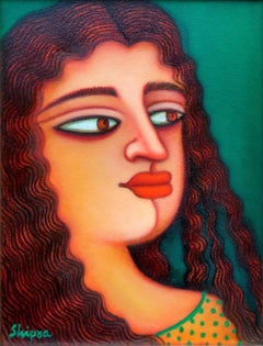 "Indian Women, Acrylic on canvas, Red, Green, Brown by Indian Artist ""In Stock"""