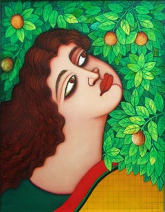 Large-eyed, sensuous red lipped woman; amidst flora-fauna foliage and garden